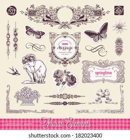 vector set: floral design elements and page decoration