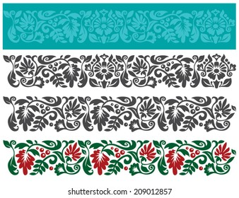 Vector set of floral elements. Traditional ukrainian ornament. Seamless pattern for frames and borders.