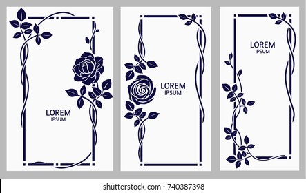 Vector set of floral frames with vintage rose and leaves. Wedding invitation template or page decor