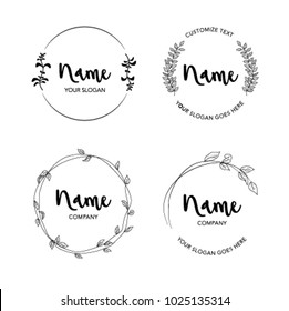 Vector set of floral logos with leaves for designer for any company or business that has a nature or green based profile