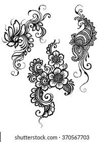 Vector set of floral, peacock mehndi design