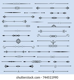 Vector set of flourishes page decor vignettes,calligraphic page dividers. Collection of vector design elements and borders.