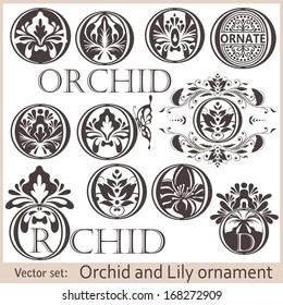 Vector set: Flower Background Template. Vector Illustration. Lotus symbol. Logo design