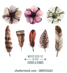 Vector set of flowers and feathers in watercolor style. Illustration in indie style.