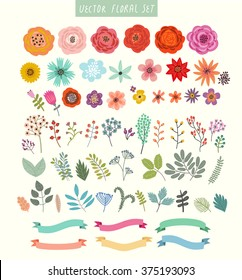 Vector set of flowers and labels.