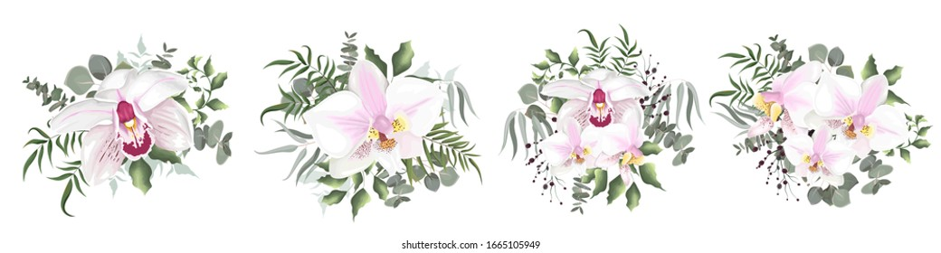 Vector set of flowers on a white background. Royal orchids, berries, eucalyptus, green plants and flowers. Floral elements for wedding design.