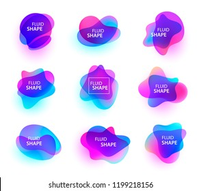 Vector set of fluid organic colorful shapes. Abstract background, shiny 3d shapes