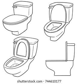 vector set of flush toilet