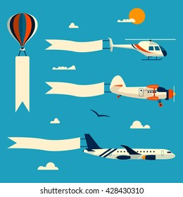Vector set of flying balloon, helicopter, airplane and retro biplane with advertising banners. Template for text. Design elements in flat style.