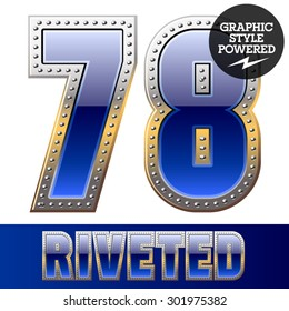 Vector set of font in blue color with riveted border. Numbers 7 8