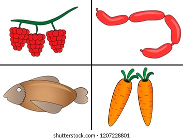 Vector set of food in cells for children`s learning on white background.