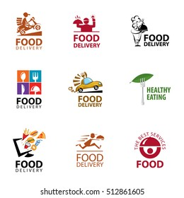 Vector set food delivery, icons, logo and illustrations