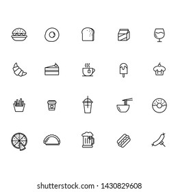 Vector set food and drinks line icon.