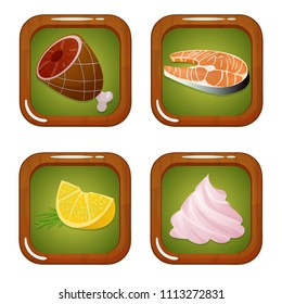 Vector set of food icons with meat, fish, lemon and zephyr marshmellow on green background with wooden frame. Isolated elements on white background. Perfect for cooking games and other design works.