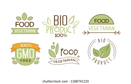 Vector set of food labels with text. Gluten free. Vegetarian nutrition. Emblems for packing natural products