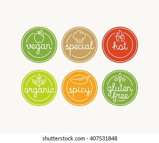 Vector set of food menu badges and labels with hand-lettering and icons in trendy linear style - marks for different products and dishes - vegan, special, hot, spicy, organic and gluten free