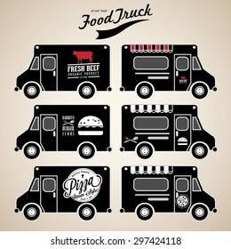 Vector set of food truck on black