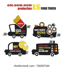 Vector set with foodtruck. Street food, French fries, doughnuts, pancakes. Fast food. Cafe on wheels