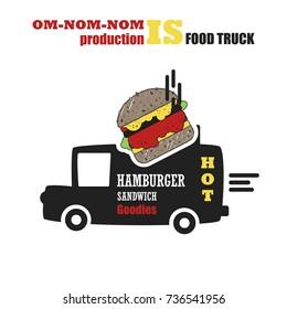 Vector set with foodtruck. Street food, Hamburger. Fast food. Cafe on wheels