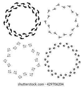 Vector set of footprint circle frames. Set of isolated barefoot, bird footprint, cat or dog footprint. Design for cards, brochure, booklet, banner, flier, website.