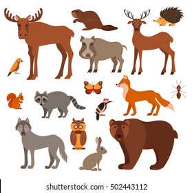 Vector Set Of Forest Animals Made In Cartoon Flat Style Zoo Collection Fox