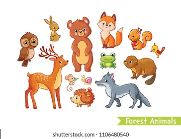 Vector set with forest animals on a white background. Mild animals in the children's cartoon style.