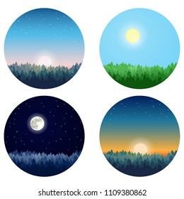 Vector set of forest landscapes: pine forest at sunset, sunrise, day and night. Vector illustration.