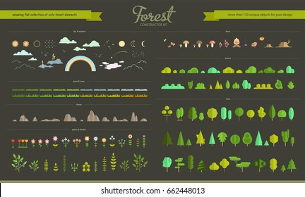 Vector set of forest, park and weather elements, various trees, bushes, grass, flowers, stones, mushrooms, clouds, sun and moon. Nature icon collection, infographic. Flat constructor. Game design