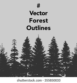 Vector set of Forest trees outlines. Great collection of pine and fir trees for your design.