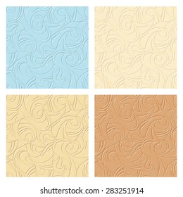 Vector set of four abstract seamless beige and blue patterns.