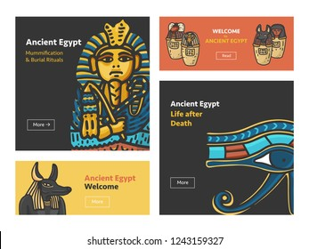 Vector set of four banner design with Ancient Egypt symbols: Tutankhamun Sarcophagus, Anubis Head, Canopic jars (using in embalming proccess); Hand drawn cartoonish style with outline
