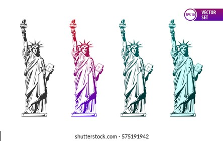 Vector set of four colored stylized Statue of Liberty