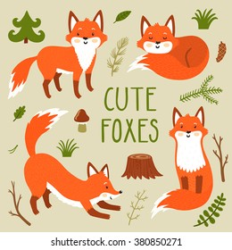Vector set of four cute foxes an forest plants. Funny hand drawn cartoon characters. Can be used in childish posters, card, invitations and others.