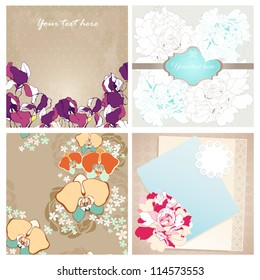 Vector set of four decorative design for greeting card or invitation. Vector illustration with arabesque ornament, iris, orchid and peony flower.