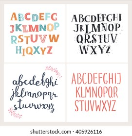 Vector set of four difference english Alphabets. Cute colorful vector English alphabet, vintage font, funny hand written font and capital ABC. Lowercase and uppercase letters