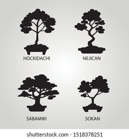Vector set with four different styles of bonsai. Isolated black trees on white background.