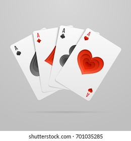 Vector set of four fan shaped aces playing cards. Suits with paper art decoration.