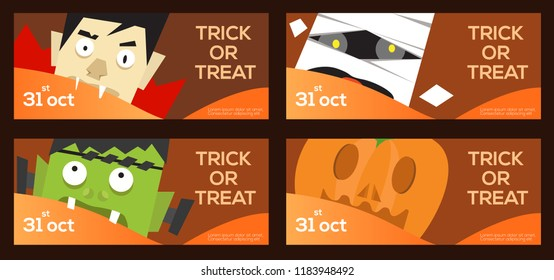 Vector set of a four Halloween headers or banners with trick or treat Halloween decorations.