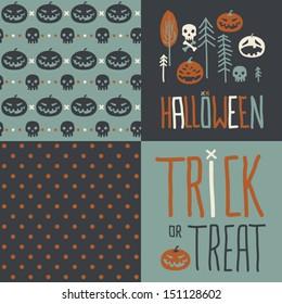 Vector set of four halloween seamless patterns. Cartoon pumpkinsand skulls. Halloween elements for scrap-booking. Hand drawn vector illustration. Trick or treat.
