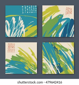 Vector set of four hand drawn abstract designs. Colored backgrounds designed for notebook covers or any kind of print media. Color compositions.