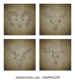 Vector set of four illustrations with grunge silhouettes skulls wild buffalo, ram, moose and bull on vintage background. Sketch in sepia color. For you design, print, tattoo or magic craft.