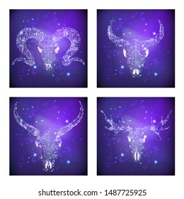 Vector set of four illustrations with hand drawn skulls buffalo, moose, bull and rams against the background of the starry sky. In purple color. For you design, print, tattoo or magic craft.