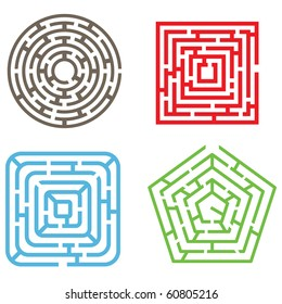 Vector Set. Four Isolated Maze Elements.  Different Types of Labyrinths. Tangled Lines into the Geometrical Shapes on White