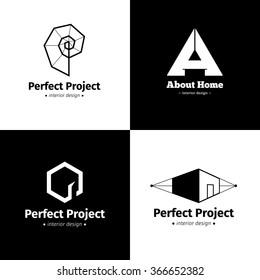 Vector set of four minimalistic interior design studio logos. Black and white creative logotypes