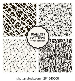 Vector set of four natural seamless patterns. Stylish tileable swatches. Monochrome creative prints, backgrounds with spots, grids, hand drawn graphics. Modern graphic design.