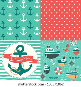 Vector set of four nautical seamless patterns, marine symbols. Use to create quilting patches or seamless backgrounds for various textile and craft projects.