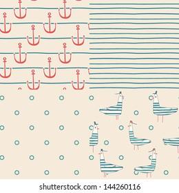 Vector set of four nautical seamless patterns. Nautical birds. Marine seagulls. Cartoon birds. Kid's elements for scrap-booking. Childish background. Hand drawn vector illustration.