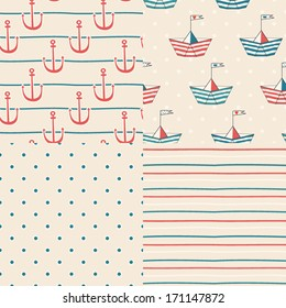 Vector set of four nautical seamless patterns. Nautical icons. Marine symbols. Cartoon boats. Kid's elements for scrap-booking. Childish background. Hand drawn vector illustration.