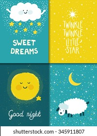 Vector set of four night cards with cute cartoon characters and phrases. Beautiful posters for baby rooms. Childish backgrounds with moon, stars, cloud, sheep.