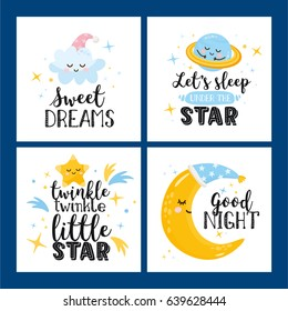Vector set of four night cards with cute cartoon characters and phrases. Beautiful posters for baby rooms or bedroom. Childish backgrounds with moon, stars, cloud, planet. Hand drawn letters.